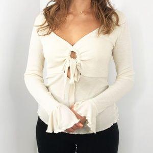 FREE PEOPLE Beige Shimmer Long Sleeve Blouse Top